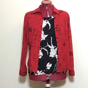 KIM ROGERS RED AND BLACK LONG SLEEVE BLOUSE